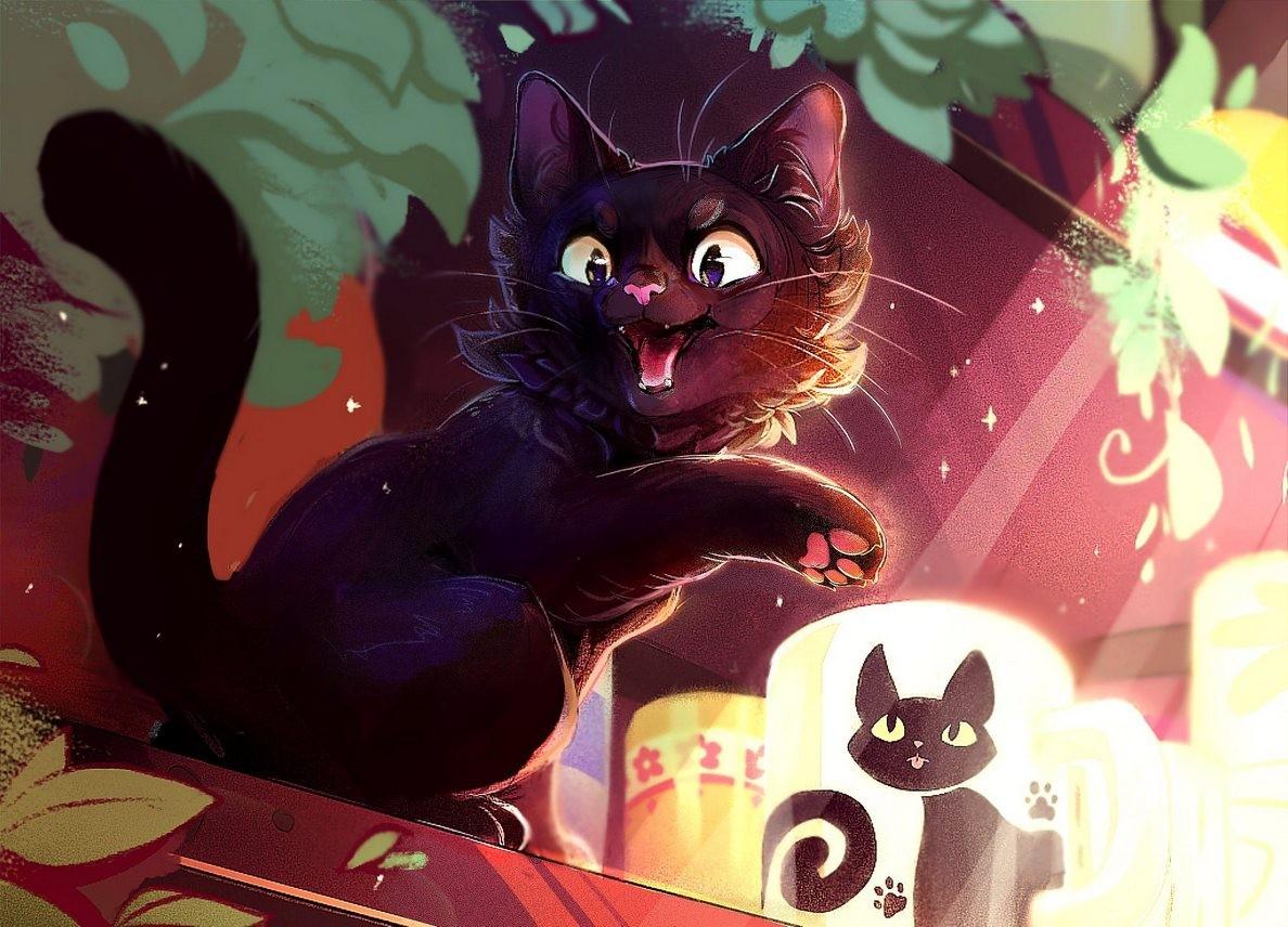Puzzle Zbierać puzzle online - Black cat JI-JI