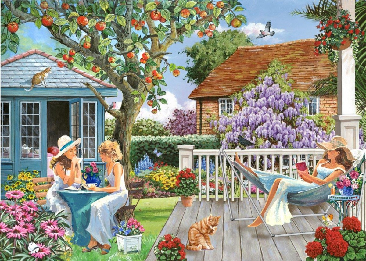 Puzzle Zbierać puzzle online - Girls in the garden