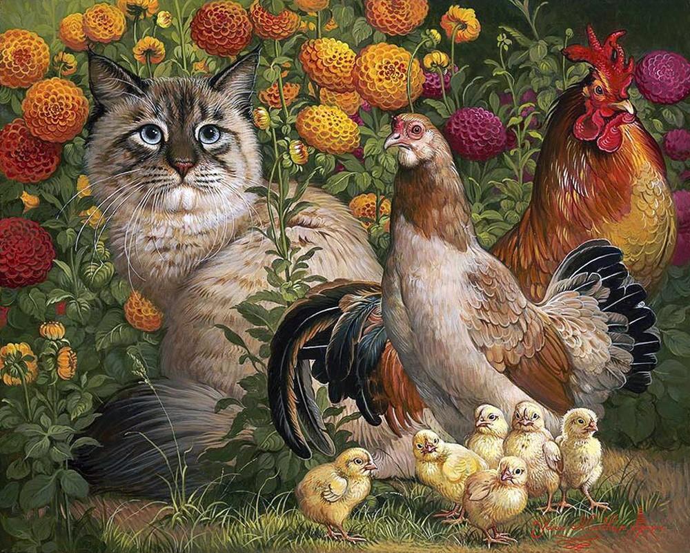 Puzzle Zbierać puzzle online - Kot i ptitsi