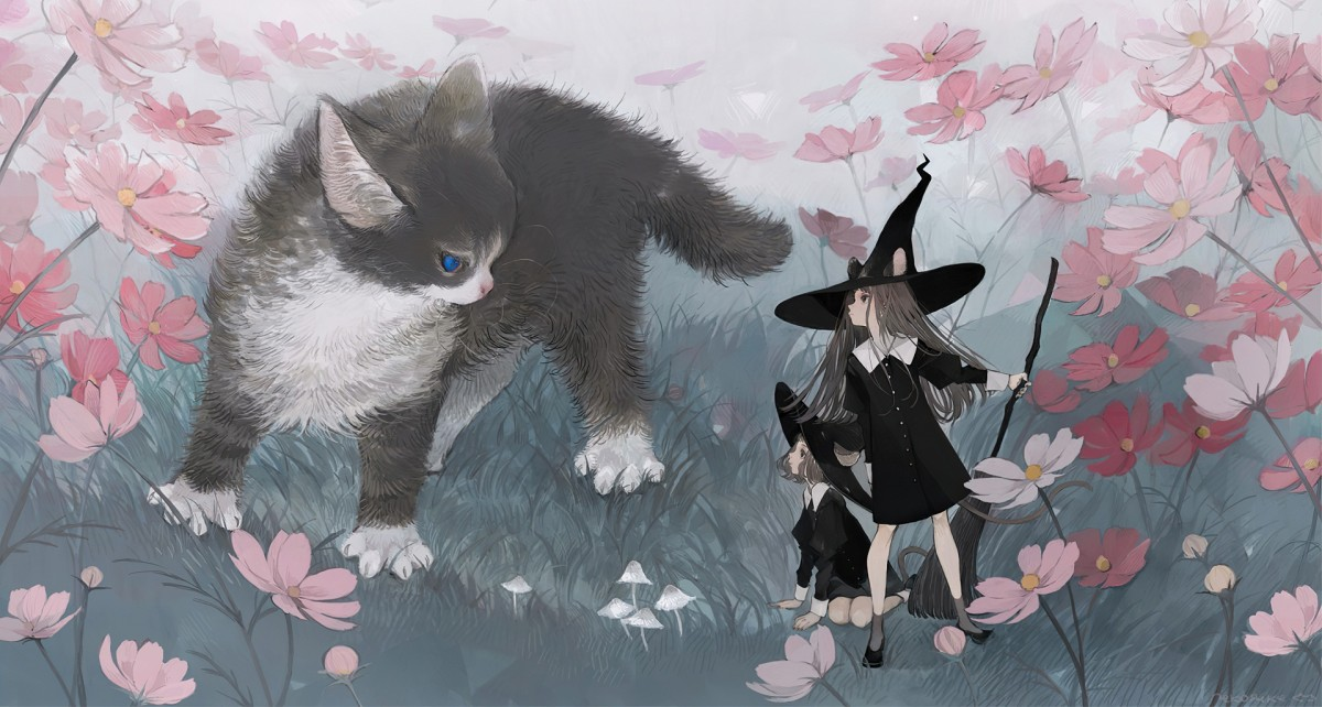 Puzzle Zbierać puzzle online - Kitty and witches