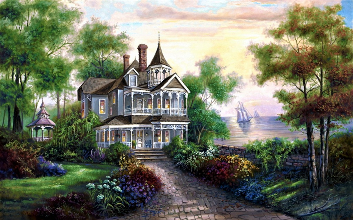 Puzzle Zbierać puzzle online - Mansion on the shore