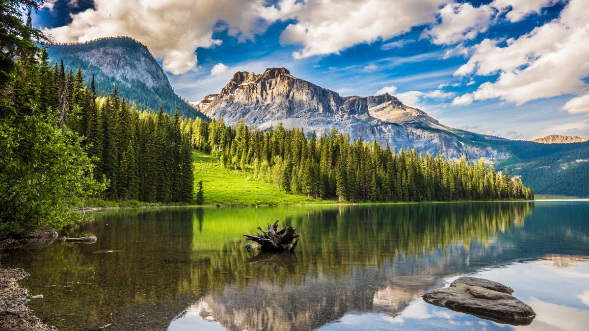 Puzzle Zbierać puzzle online - Lake among mountains