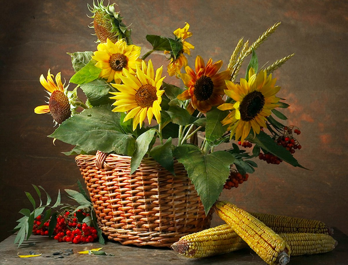 Puzzle Zbierać puzzle online - Sunflowers in a basket
