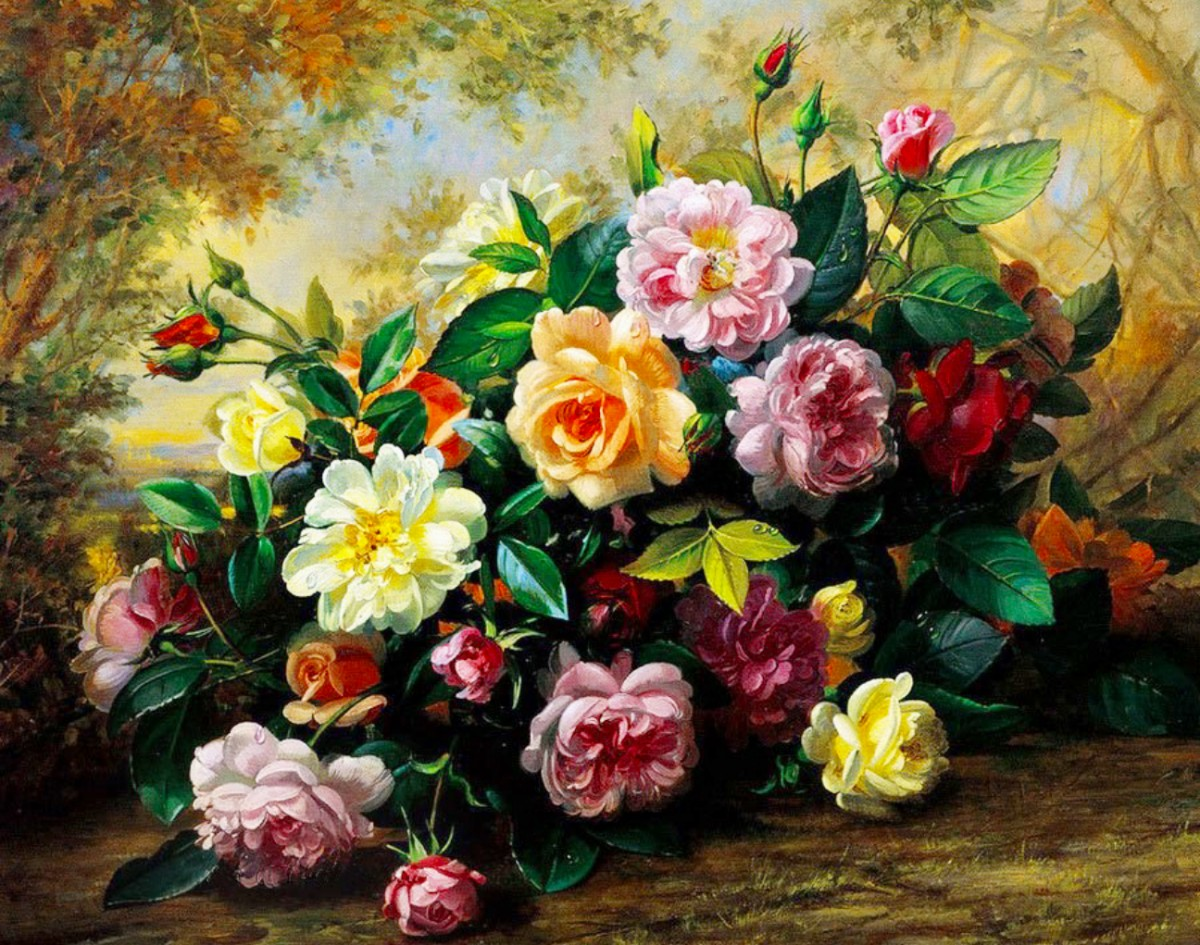Puzzle Zbierać puzzle online - Multi colored roses