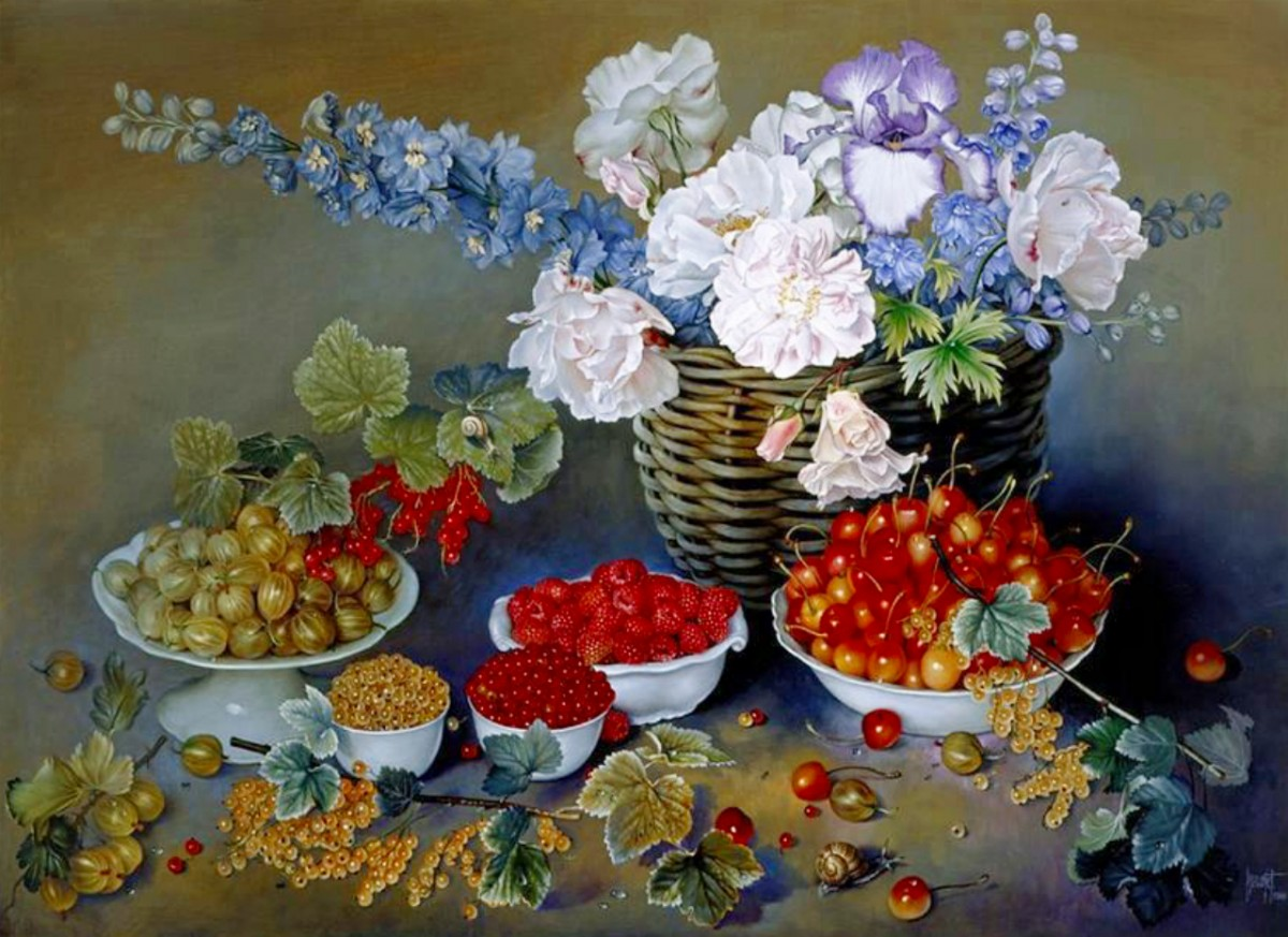 Puzzle Zbierać puzzle online - Flowers and berries