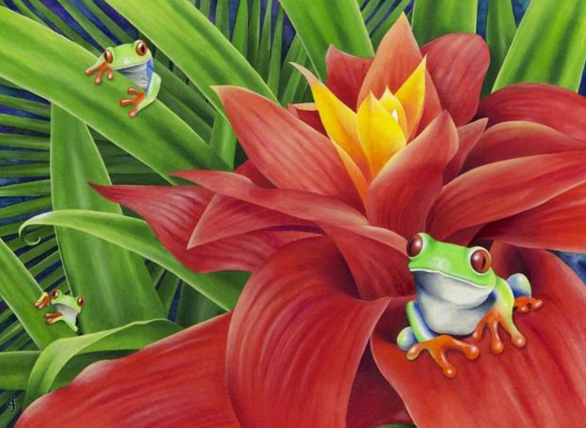 Puzzle Zbierać puzzle online - Flower and frogs