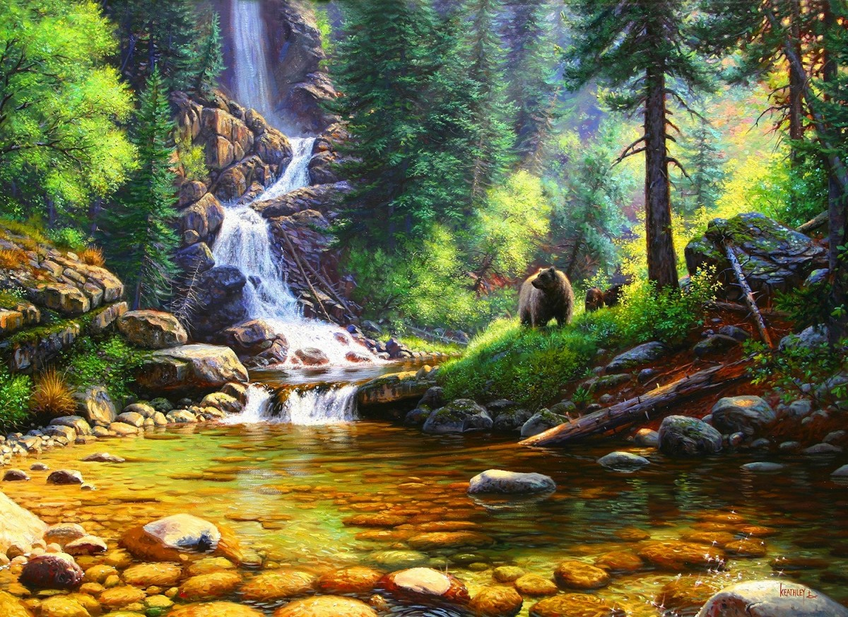Puzzle Zbierać puzzle online - Waterfall in the forest