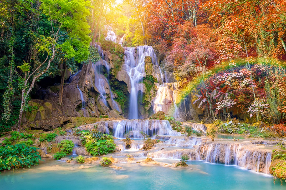 Puzzle Zbierać puzzle online - Waterfall in the tropics