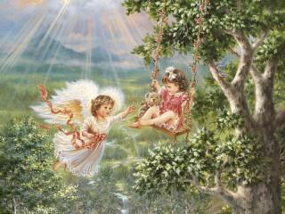 Собирать пазл Angel and baby онлайн