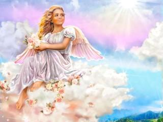 Собирать пазл Angel on a cloud онлайн