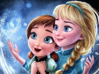 Собирать пазл Anna and Elsa онлайн