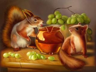 Собирать пазл Squirrels the troublemakers онлайн