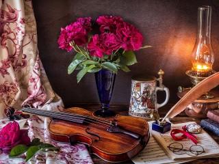 Собирать пазл Bouquet and violin онлайн