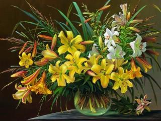 Собирать пазл A bouquet of lilies онлайн