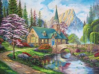 Собирать пазл Chapel by the river онлайн