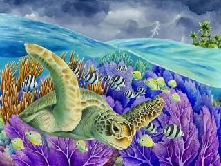 Собирать пазл Turtle and fish онлайн