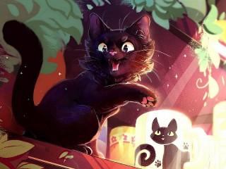 Собирать пазл Black cat JI-JI онлайн