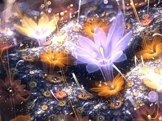 Собирать пазл Glowing flowers онлайн