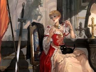 Собирать пазл The lady with the cat онлайн