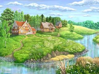 Собирать пазл Countryside in summer онлайн