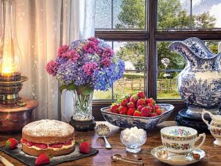Собирать пазл Dessert with strawberries онлайн