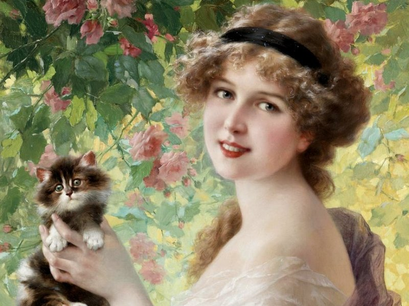 Puzzle Zbierać puzzle online - Girl with cat