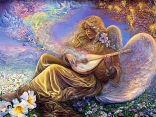 Собирать пазл Angel with Lute онлайн