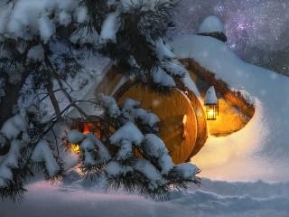 Собирать пазл Hobbit house in winter онлайн
