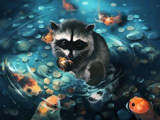 Собирать пазл Raccoon with coins онлайн