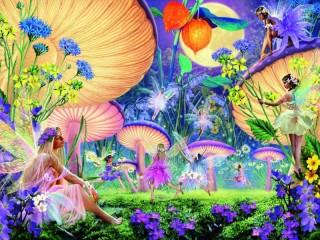 Собирать пазл Fairies and mushrooms онлайн