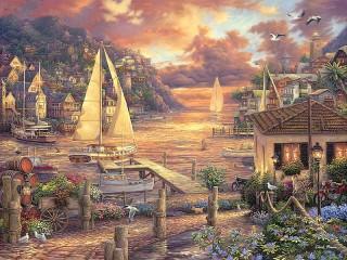 Собирать пазл A town by the sea онлайн