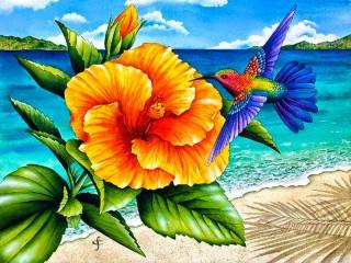 Собирать пазл Kolibri i tsvetok онлайн