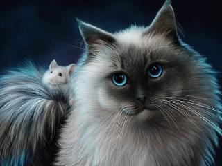 Собирать пазл Cat and mouse онлайн
