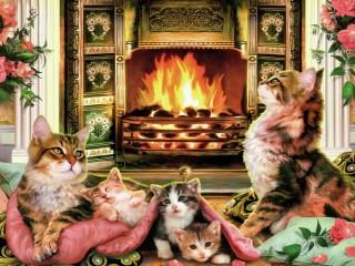 Собирать пазл Cats near a fireplace онлайн