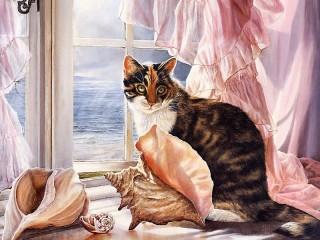 Собирать пазл Cat and sea онлайн