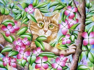 Собирать пазл Cat in the tree онлайн