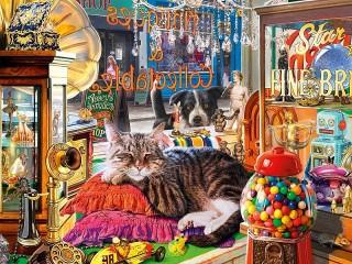 Собирать пазл The cat in the shop онлайн