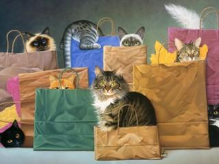 Собирать пазл Cats in bags онлайн