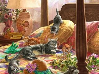 Собирать пазл Kittens on the bed онлайн