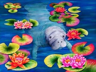 Собирать пазл Manatee and lotuses онлайн