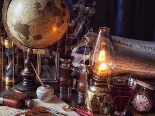 Собирать пазл Lampa i globus онлайн