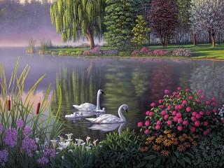 Собирать пазл Swan family онлайн