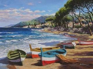 Собирать пазл Boats on the shore онлайн