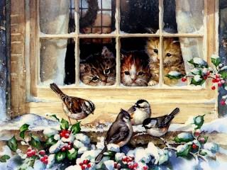 Собирать пазл Curious kittens онлайн