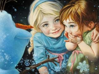 Собирать пазл Little Elsa and Anna онлайн