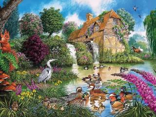 Собирать пазл Mill at pond онлайн