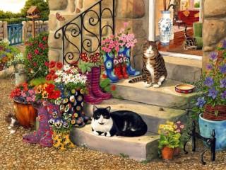 Собирать пазл On the porch онлайн