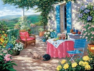 Собирать пазл On the veranda онлайн