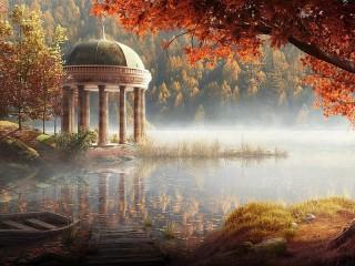 Собирать пазл Autumn mist онлайн