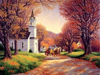 Собирать пазл Autumn road онлайн